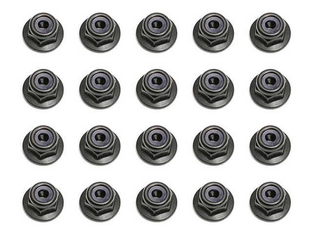 ASSOCIATED 25612 Locknuts, M3, flanged, black