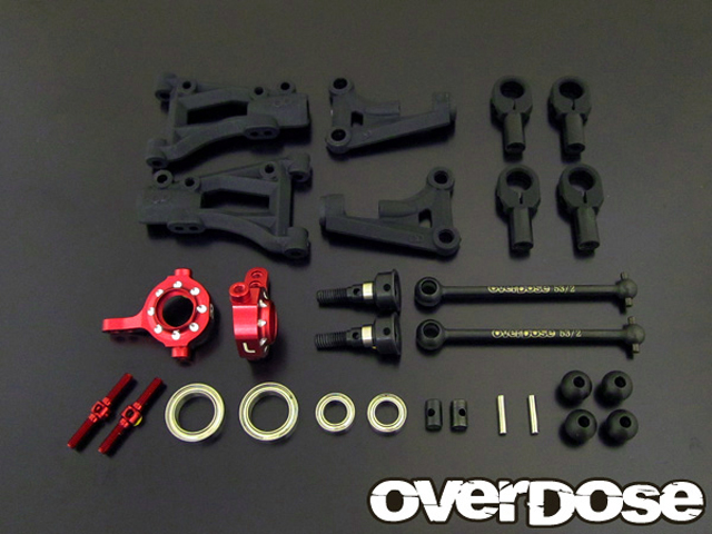 OVERDOSE OD1617 フロントAアームサスペンションキット(For Vacula/ Divall A-Arm 用 / レッド)