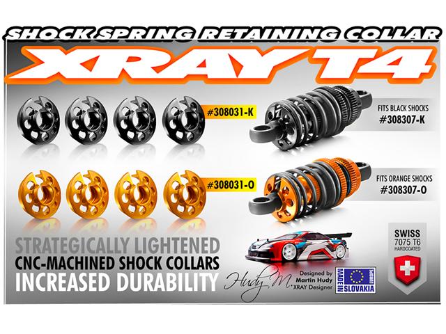 XRAY 308031K アルミダンパースプリングサポート【ブラック/4pcs】