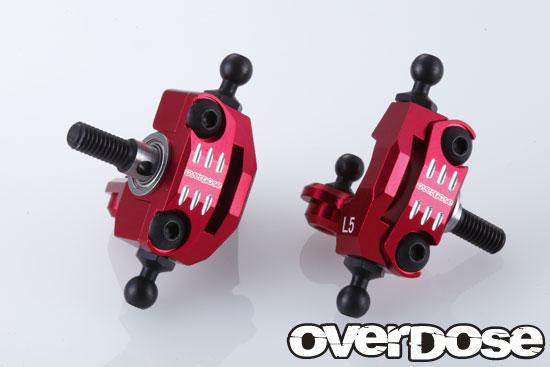 OVERDOSE OD2080 アジャスタブルアルミナックルセット (For RWD/レッド)