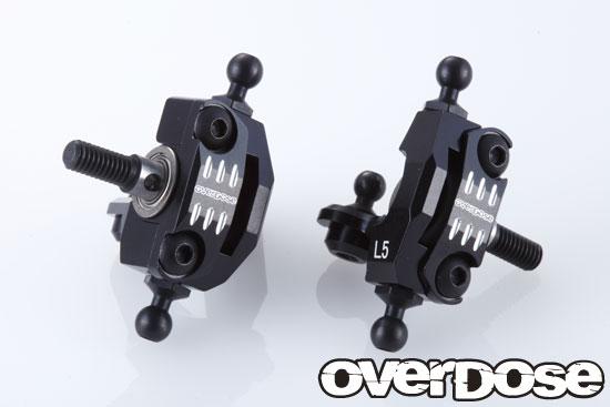 OVERDOSE OD2081 アジャスタブルアルミナックルセット (For RWD/ブラック)