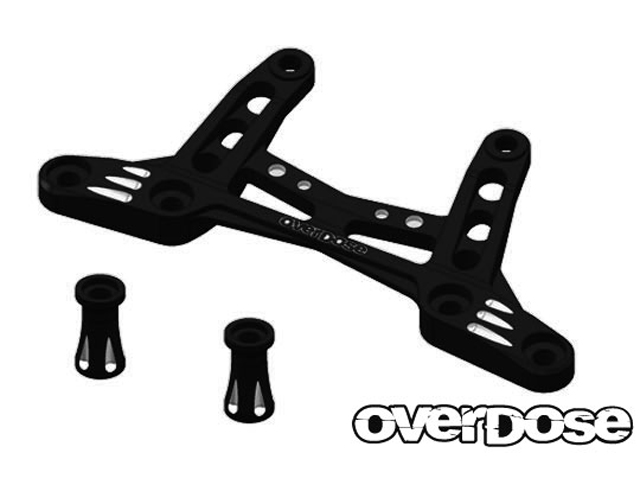 OVERDOSE OD2095 アルミフロントブレース Type-2 【For ドリパケ/ブラック】