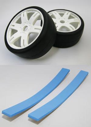 PROSPEC S40145W6P スイープ1/8GTレーシングスリックタイヤ【45deg/インナーメッシュ/接着済み/ホワイト/ブルーバーインナー/2個入】