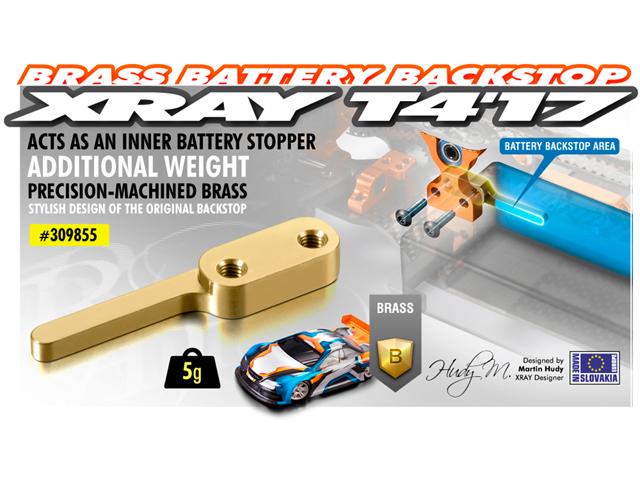 XRAY 309855 真鍮バッテリーバックストラップ【T4用】