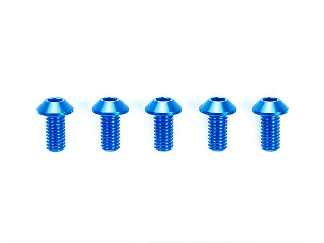 TAMIYA 42327 3x6mm ハイグレードアルミ六角丸ビス(ブルー・5本)