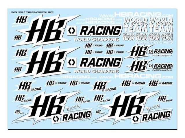 HPI HB204074 HB World Team HB Racing Decals White