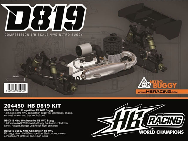 HB RACING 204450 D819 1/8 Competition Nitro Buggy Kit
