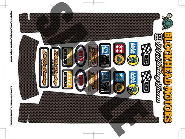 T4WORKS T4-STK02-CB BLOCKHEADMOTORS&T4WORKSコラボステッカーキット【カーボンルック】