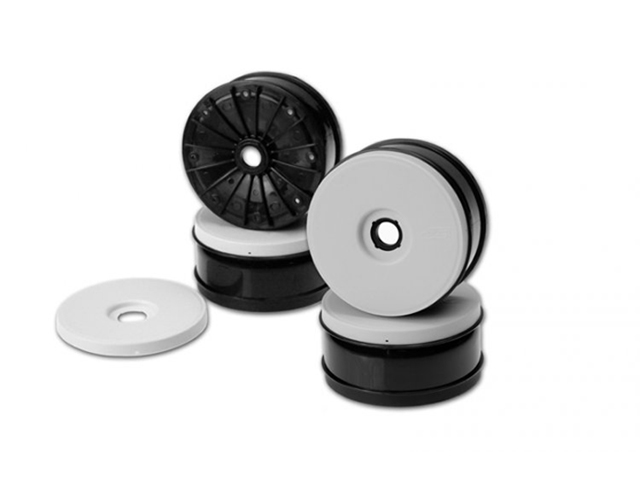 J Concepts 3304 Inverse - 1/8th buggy wheel (black) White/caps -